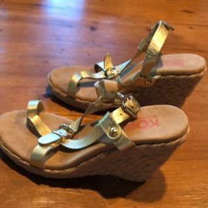 Michael Kors Ariel Gold Strap Wedge Sandals